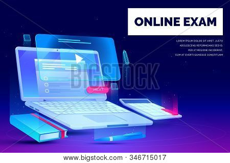 Online Exam, Distant Education Landing Page, Laptop With Task Checklist And Video Application For We