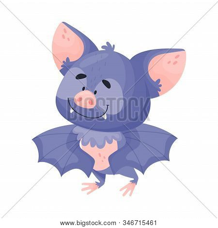 Cartoon Bat Character With Satisfied Expression On Its Muzzle Vector Illustration