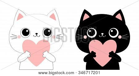 Cat Kitten Kitty Head Face Holding Big Pink Heart. Family Couple. Happy Valentines Day. Cute Cartoon