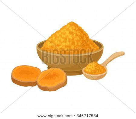Turmeric Root And Powder In Ceramic Bowl Isolated On White Background