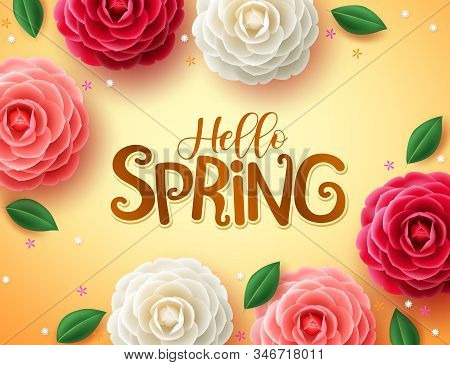 Hello Spring Text Vector Concept Design. Hello Spring Greeting Design In Camellia And Roses Backgrou