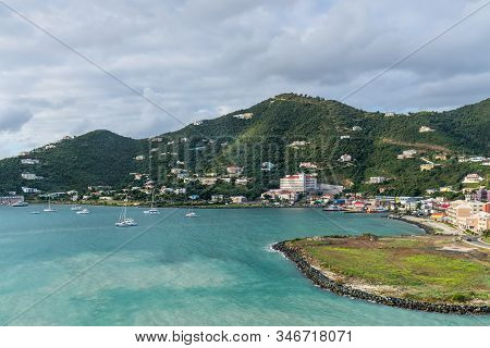 Road Town, Tortola, Bvi - December 16, 2018: Coastline Along A Road Town In Tortola, Bvi. The Wooded