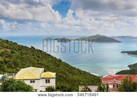 A View Over The Roof Tops Of Tortola Towards The Islands Of Guana, Great Camanoe And Scrub