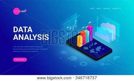 Data Analysis Isometric Landing Page Concept. 3d Graph Data On Smartphone Screen, Statistics Report,