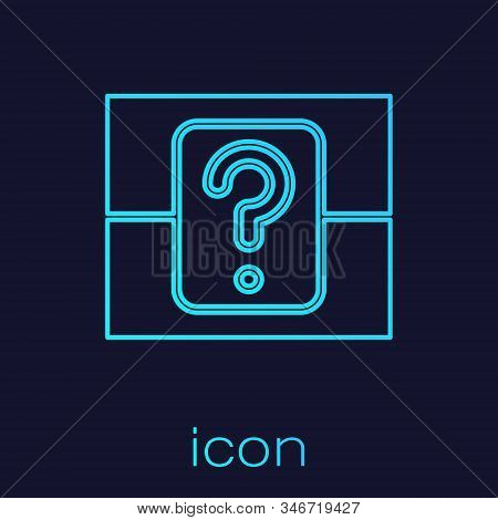 Turquoise Line Mystery Box Or Random Loot Box For Games Icon Isolated On Blue Background. Question B
