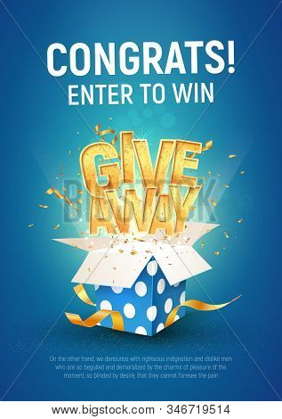 Giveaway Word Above Open Textured Blue Box With Confetti Explosion Inside On Blue Background Illustr
