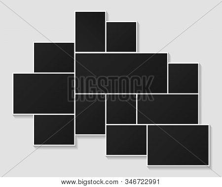 Photo Frames Collage Template Illustration. Vector Poster Frame Mockup. Black Blank Picture Photo Fr