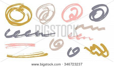 Sketch Scribble Doodle Pink Gold Gray Graphic Design Vector Elements.  Draft Marker Traces. Paint Br