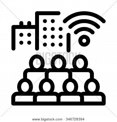 Residents Connect Wi-fi Icon Vector. Outline Residents Connect Wi-fi Sign. Isolated Contour Symbol I