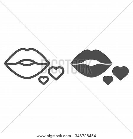Lips And Hearts Line And Solid Icon. Kissing Lips And Two Hearts Illustration Isolated On White. Kis