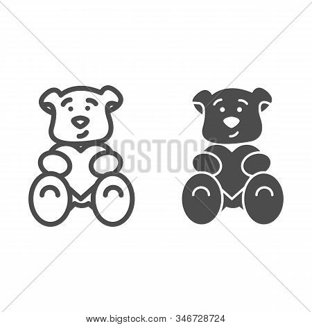 Teddy Bear With Heart Line And Solid Icon. Romantic Teddy Bear Toy Illustration Isolated On White. C