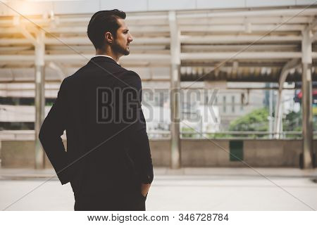 Portrait Cool Businessman. Handsome Young Business Men Looks Smart, Stand At City. Cool Guy Look Con