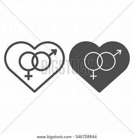 Heterosexual Symbol In Heart Line And Solid Icon. Romantic Hetero Heart Symbol Illustration Isolated