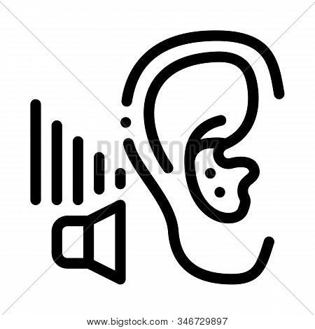 Bad Hearing Icon Vector. Outline Bad Hearing Sign. Isolated Contour Symbol Illustration