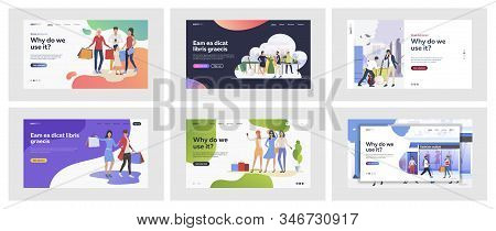 Set Of Casual People Doing Shopping. Flat Vector Illustrations Of Men And Women Buying Things. Shopp