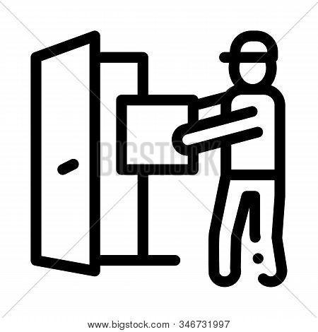 Courier With Box Enters Door Icon Vector. Outline Courier With Box Enters Door Sign. Isolated Contou