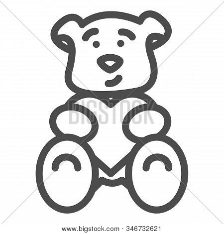 Teddy Bear With Heart Line Icon. Romantic Teddy Bear Toy Illustration Isolated On White. Cute Black