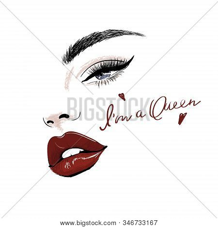 Sensual Face With Red Juicy Lips And Eye