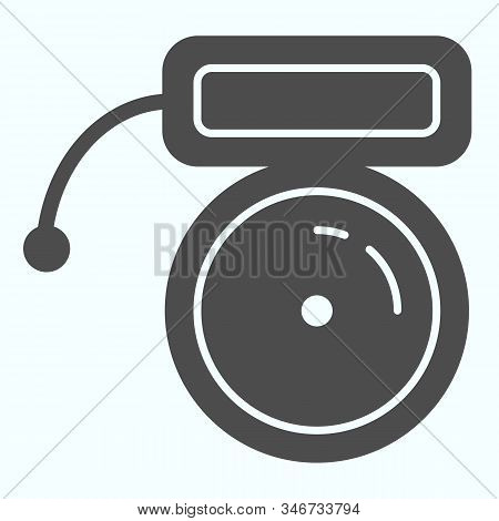 Buzzer Solid Icon. Mechanical Ring Vector Illustration Isolated On White. School Bell Glyph Style De