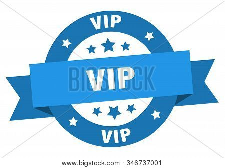 Vip Ribbon. Vip Round Blue Sign. Vip