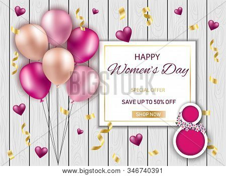8 March Sale Invitations. Happy Womens Day Background Horizontal Banner Beautiful Holiday discount banner Vector Illustration. 8 march, womans day, womens day background, womens day banners, womens day flyer, womens day design, womens day