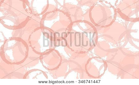Faded Hand Drawn Circles Geometry Fabric Print. Circular Splotch Overlapping Elements Vector Seamles