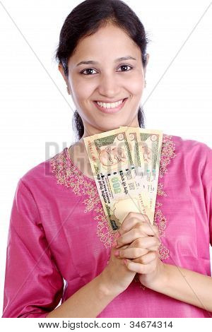 Indian Woman With Currrency Notes