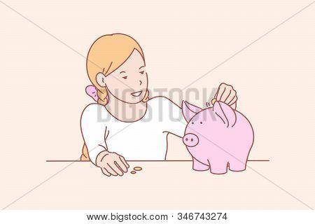 Money, Savings, Childhood, Skill Concept. Smiling Little Girl Saving Money In Piggybank For Shopping