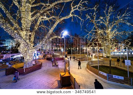 Vienna, Austria - January 23, 2020: The Town Government Of Vienna Organize Every Winter An Ice Rink