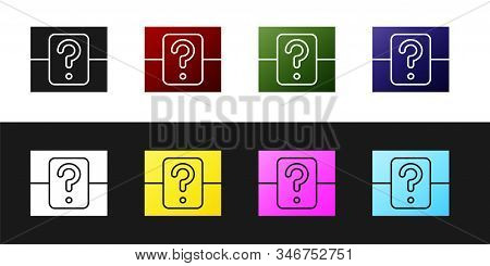 Set Mystery Box Or Random Loot Box For Games Icon Isolated On Black And White Background. Question B