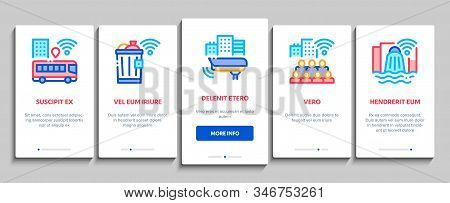 Internet Of Things Iot Onboarding Mobile App Page Screen Vector. Wifi Signal In Bus And Truck, Cctv
