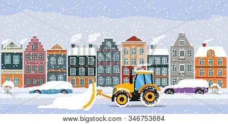 A Tractor Cleans The Road In The City After Heavy Snow And Hail.