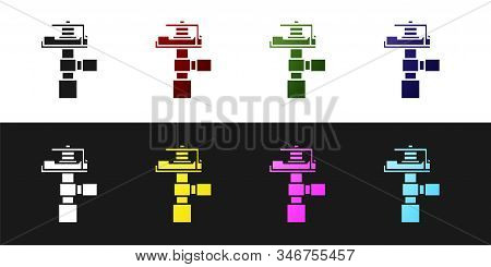 Set Automatic Irrigation Sprinklers Icon Isolated On Black And White Background. Watering Equipment.