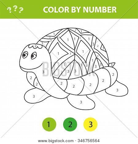 Cartoon Turtle. Color By Number Educational Game For Kids. Illustration For Schoolchild And Preschoo