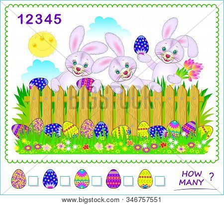 Math Education For Children. How Many Easter Eggs Can You Find? Count Quantity And Write Numbers In