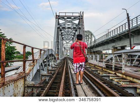 Saigon, Vietnam - Oct 5, 2019. Ancient Binh Loi Railway Bridge In Saigon, Vietnam. The Bridge, 276m