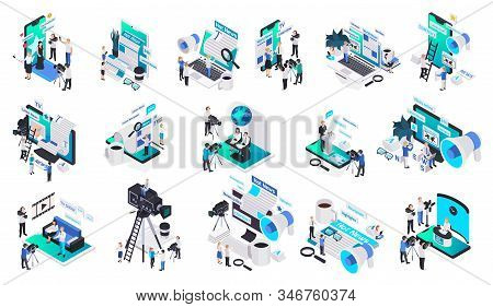 Isolated Isometric Journalistis Reporters News Media Icon Set With Hot Online And Latest News Vector