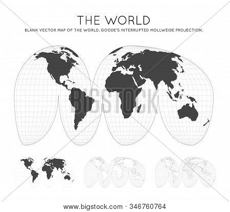 Map Of The World. Goode's Interrupted Mollweide Projection. Globe With Latitude And Longitude Lines.