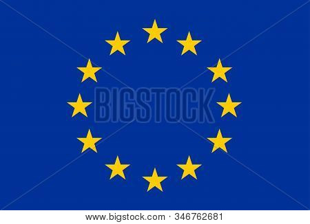 European Flag, A Circle Of 12 Upward-oriented 5-pointed Golden Stars Centred On A Blue Field: Repres