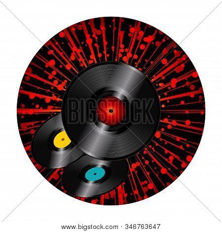 Trio Of Vinyl Discs Over Circular Black Border With Red Starburst On White Background
