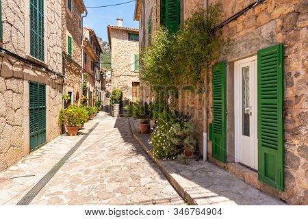 Mallorca, Spain - May 7, 2019: Historic Architecture Of The City Of Valldemossa, A Popular Tourist D