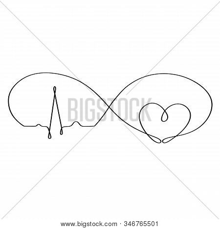 Eternal Love While The Heart Beats. Drawn In One Continuous Line By Hand. Isolated Stock Vector Illu