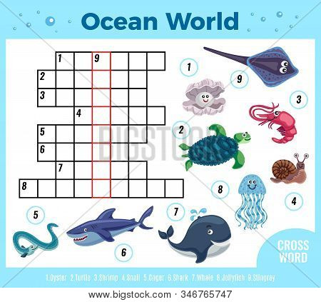 Sea Animal Funny Crossword Composition With Colourful Images Of Fishes And Reservoir Inhabitants Wit