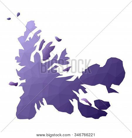 Taaf Map. Geometric Style Country Outline. Authentic Violet Vector Illustration.