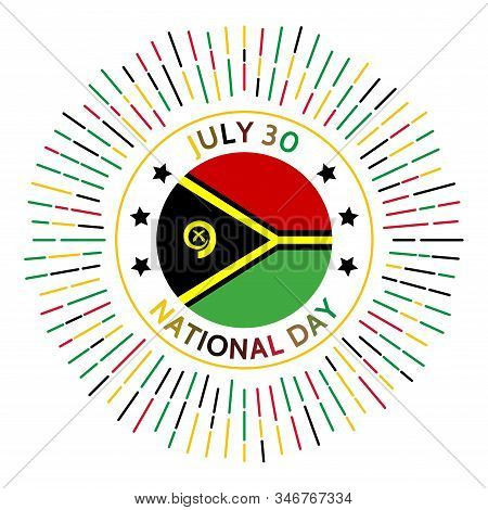 Vanuatu National Day Badge. Independence From The United Kingdom And France In 1980. Celebrated On J