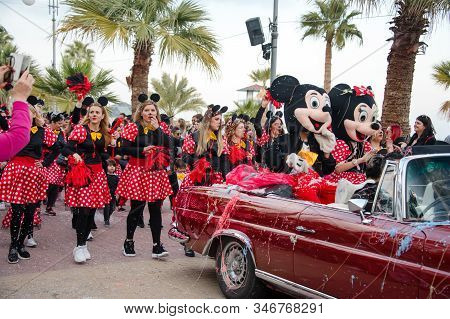 Limassol, Cyprus - March 9, 2019: Grand Carnival Parade, People In Costumes At Famous Traditional Sp