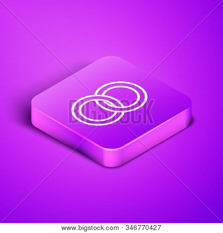 Isometric Line Wedding Rings Icon Isolated On Purple Background. Bride And Groom Jewelery Sign. Marr