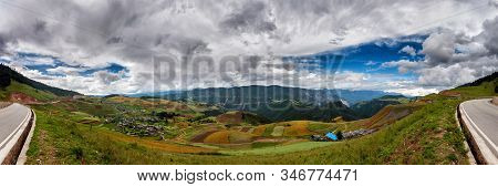 180 Degrees Panorama Of A Valley In The Chinese Region Of Shangri La (or Shangri-la) In North Yunnan
