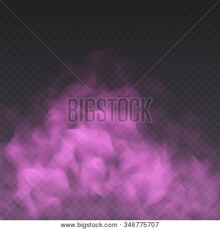Pink Fog Or Smoke Cloud Isolated On Transparent Background. Realistic Smog, Haze, Mist Or Cloudiness