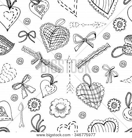 Seamless Pattern With Hand Drawn Sketch Of  Sewing Hearts, Bows,